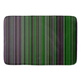 Retro stripe lime green purple bathmat
