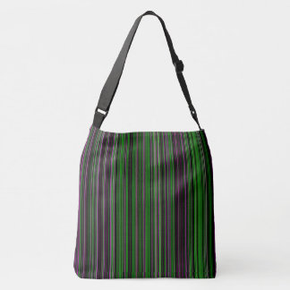 Retro stripe lime green purple shoulder bag