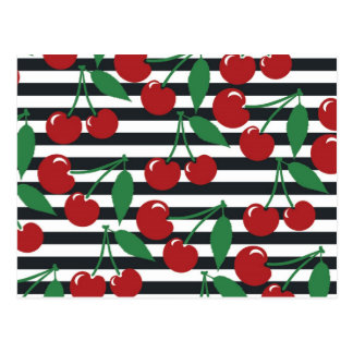 Retro Striped Cherry Pattern Postcard