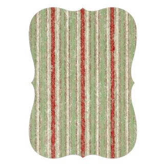 Retro Stripes Red Green Beige Stripe Invite