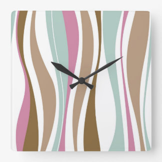 Retro Stripes Square Wall Clock