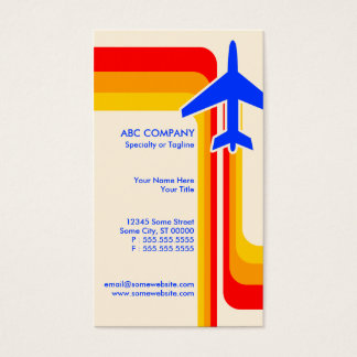 retro stripes travel business card