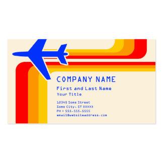 retro stripes travel business cards