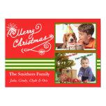 Retro Style 2 Photo Family Christmas Card Custom Invitation
