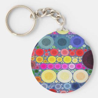 Retro Style Abstract Textured Polka-Dots Keychain