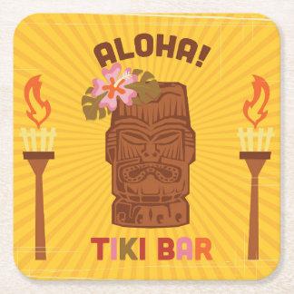 Retro Style Aloha Tiki Bar Square Paper Coaster