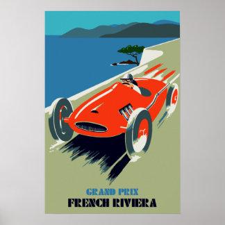 Retro style auto Grand Prix Rivièra Poster