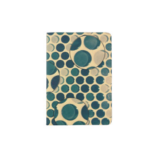Retro style blue spots and circles passport holder