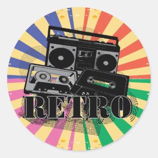 Retro style boom box and cassettes round sticker