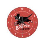 Retro Style Boston Terrier Jumping Dog Round Wallclock