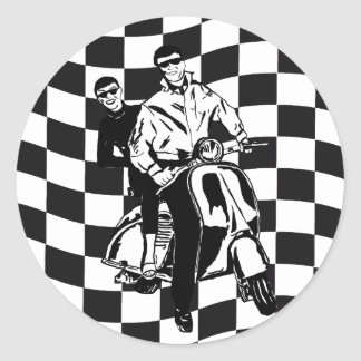 Retro style check scooter boy and girl round sticker