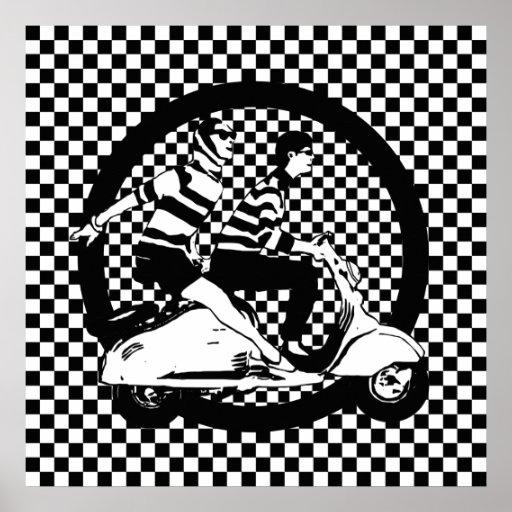 Retro style check scooter couple print