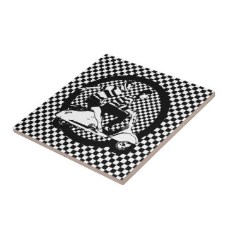 Retro style check scooter couple small square tile