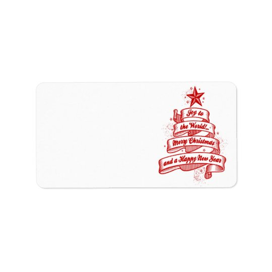 Retro Style Christmas Holiday Red White Blank Label