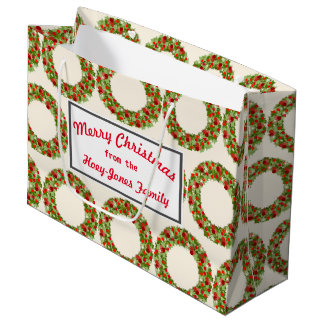 Retro-style Christmas Wreaths Large Gift Bag