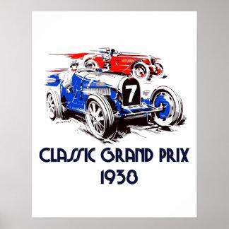 Retro style classic cars Grand Prix Poster