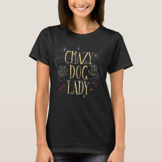 Retro Style Crazy Dog Lady Dark T-Shirt