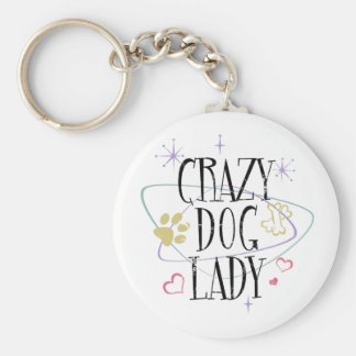 Retro Style Crazy Dog Lady Keychain