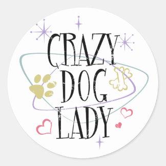 Retro Style Crazy Dog Lady Round Sticker