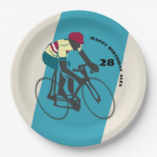 Retro-style Cycling Birthday Paper Plate