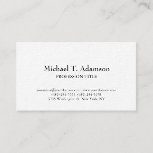 retro style elegant plain simple white business card
