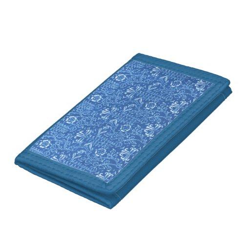 Retro Style Flowers Vintage Floral Cornflower Blue Tri-fold Wallets