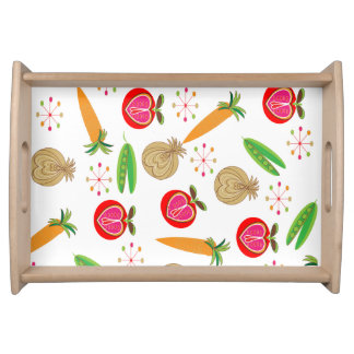 Retro Style Fruit and Vegetables Pattern Serving Tray