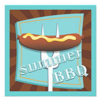 Retro Style Hot Dog Summer BBQ Party Invitation