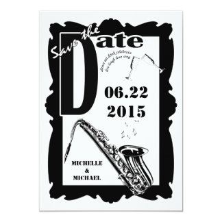 Retro Style Jazz Save the Date Black White 2 Custom Invitations