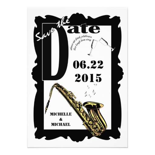 Retro Style Jazz Save the Date Black White 3 Custom Announcements