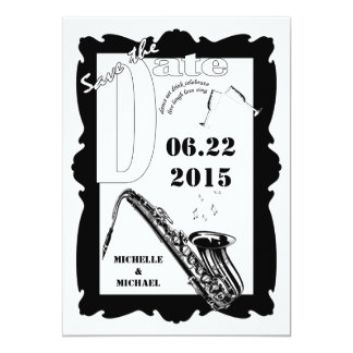 Retro Style Jazz Save the Date Black White Personalized Announcement