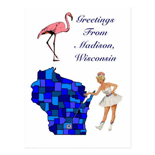 Retro Style Madison Wisconsin state Map Postcard