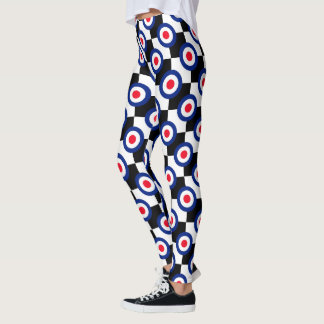 Retro Style Mod Roundels Checkers Decor on Leggings