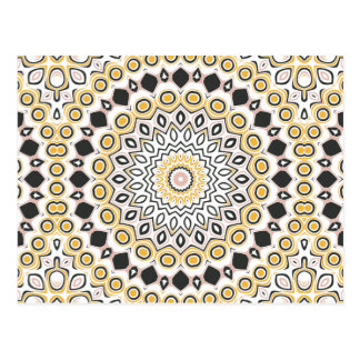 Retro Style Mustard Yellow and Black Medallion Postcard