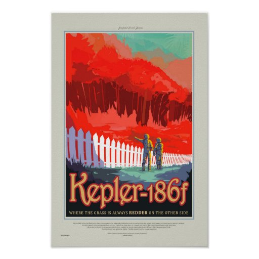 Retro Style NASA Travel Poster - Kepler 186f