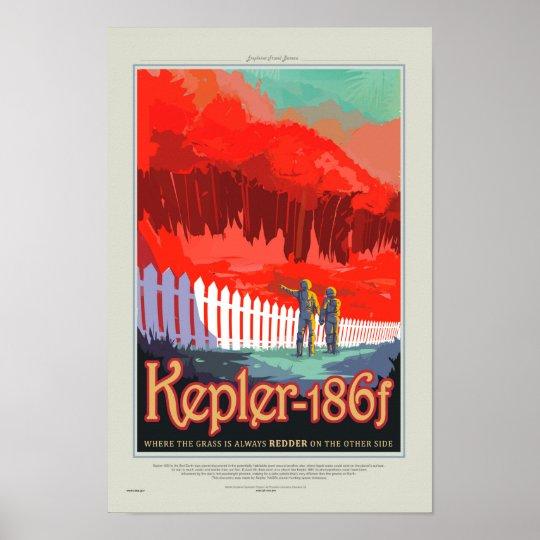 Retro Style NASA Travel Poster - Kepler 186f