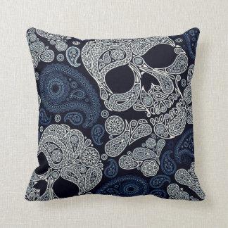 Retro Style Paisley Skull in Navy Blue Cushion