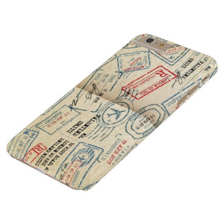 Retro Style Passport Stamps Gifts for Travelers Barely There iPhone 6 Plus Case