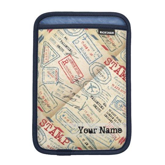 Retro Style Passport Stamps Personalised Gift iPad Mini Sleeve