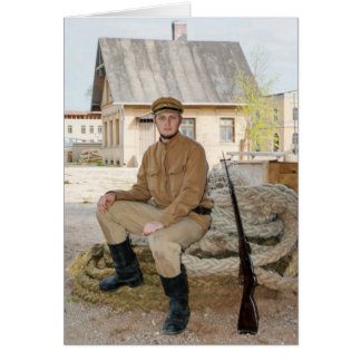 Retro style picture with soldier sitting on the ro greeting card