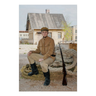 Retro style picture with soldier sitting on the ro posters