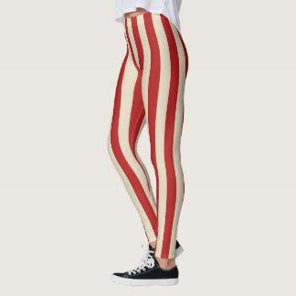 Retro Style Popcorn Stripes Decor on Leggings