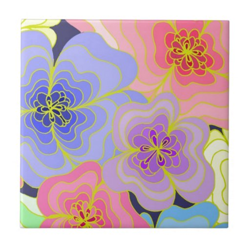Retro style pretty flowers in many colours tiles