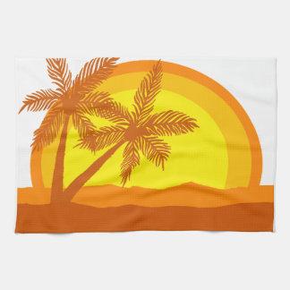 Retro Style Sunset Tea Towel