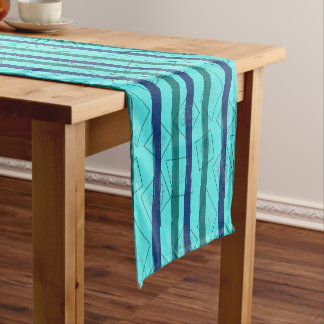 Retro Style Teal And Blue Stripes Short Table Runner