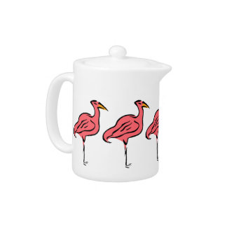 Retro Style Teapot Pink Flamingo Birds Flock