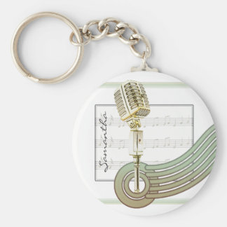 Retro Style Vintage Mic Personalized Keychain