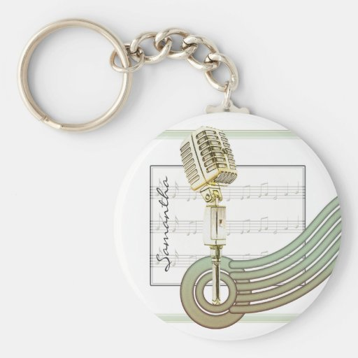 Retro Style Vintage Mic Personalized Keychain