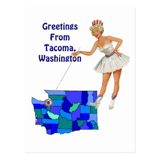 Retro Style Washington state Map Postcard Swapping