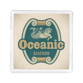Retro-styled mermaid seafood label
